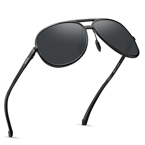 5bc69822ba Soxick Aviator Women Men s Polarized Sunglasses UV400 Retro Unbreakable  Metal Pilot Driving Sunglasses