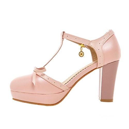 YE Damen T Strap Pumps Blockabsatz High Heels Sandalen Plateau mit Riemchen und Schleife 9cm Absatz Süß Retro Schuhe Rosa