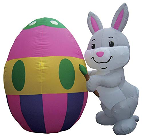 - Air Blown Inflatable 6' Easter Bunny Painting an Egg Yard Decoration
