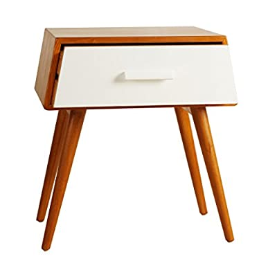 Porthos Home Brooklyn Mid-Century Walnut Side Table, White - Unique and warm design Solid wood body and legs Functional single drawer,walnut veneer - living-room-furniture, living-room, end-tables - 416vyUIeSlL. SS400  -