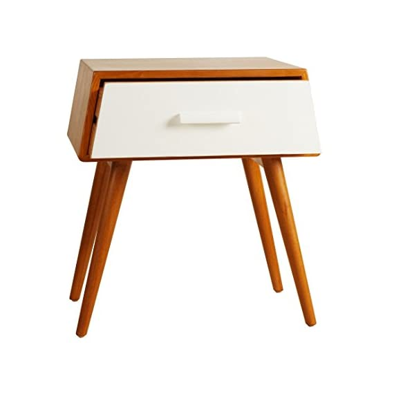 Porthos Home Brooklyn Mid-Century Walnut Side Table, White - Unique and warm design Solid wood body and legs Functional single drawer,walnut veneer - living-room-furniture, living-room, end-tables - 416vyUIeSlL. SS570  -