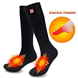 MMlove Heated Socks Men Women Electric Socks Rechargeable Batteries Socks Foot Warmers for Skiing L