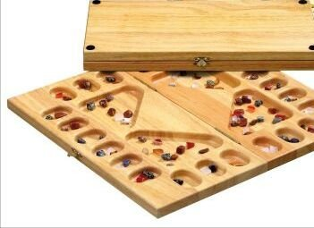 MANCALA GAME. WOODEN. 2 to 4 PLAYERS WITH SEMI-PRECIOUS STONES by Elysium Enterprises by Elysium Enterprises