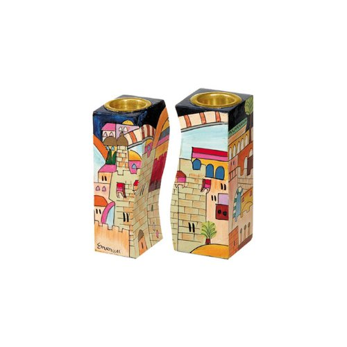 Yair Emanuel Fitted Shabbat Candlesticks with Holy City Depictions by Yair Emanuel