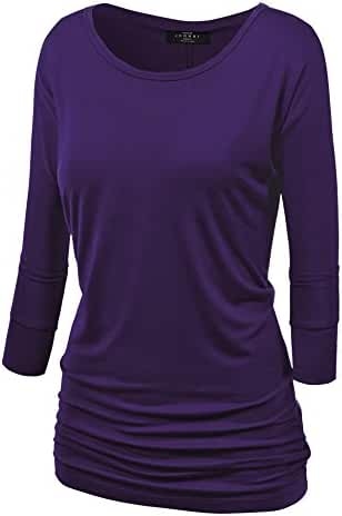 MBJ Womens 3/4 Sleeve Drape Top with Side Shirring - Made in USA