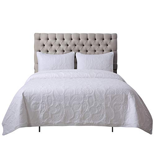 Soul & Lane White as Snow 100% Cotton White 3-Piece Quilt Set with Paisley Stitching (Queen) | with 2 Shams Pre-Washed Machine Washable Medium Weight Bedspread Coverlet