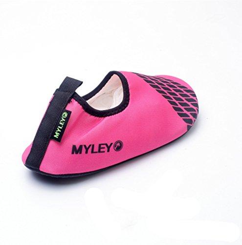 HYSENM Kinder Barfußschuhe Strandschuhe Badeschuhe Lycra hautfreundlich tragbar für Wassersport Hausschuhe Rot