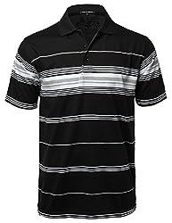 Basic Everyday Stripe Polo T-Shirt with Pocket Heather Grey2 M