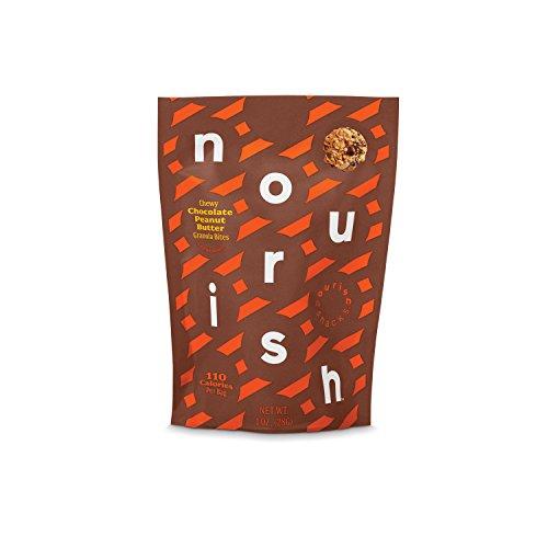 Nourish Snacks Gluten Free Chewy Granola Chia Bites, Chocolate Peanut Butter, 1 Ounce (12 Count), Non GMO