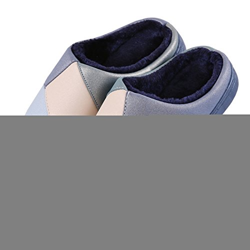 Navy plush Warm slippers winter cotton thick Stitching Snow Shoes Boots home crust BYPAqx0w