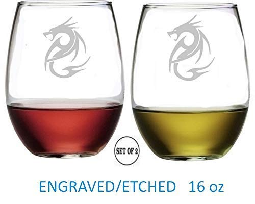 Dragon Stemless Wine Glasses Etched Engraved Perfect Fun Handmade Gifts for Everyone Set of 2