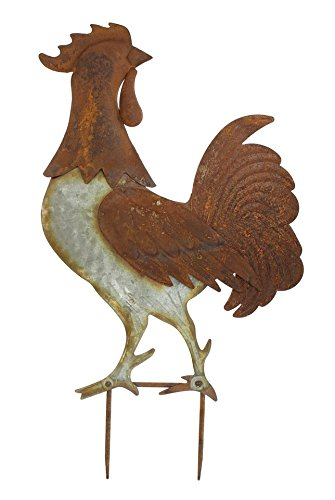 PierSurplus Free Standing Country Rooster Garden Stake Yard Art Product SKU: GD229209
