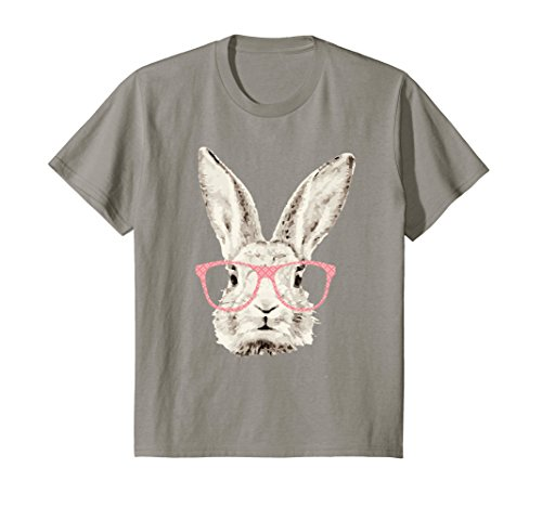 Bunny Girls T-shirt - Kids Cute Bunny Rabbit Pink Glasses Funny Hipster Gift T-Shirt 10 Slate