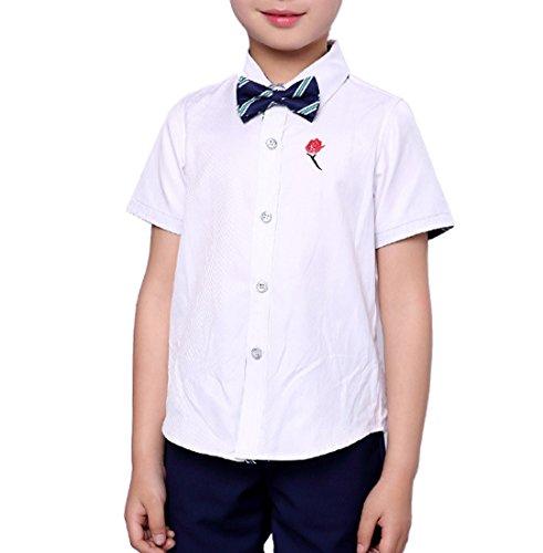 5acc3a8197 Boys Summer Suit Set 3 Pieces Shirt Vest and Shorts Set Blue Gray and Pink  (12, Blue)