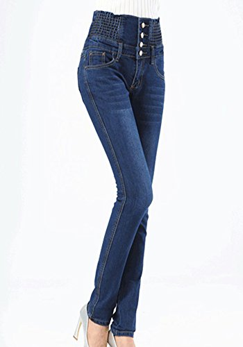 Matita Vita Donna Jeans A Forti Pantaloni Alta Taglie Zhuikuna Skinny 1 Elastica Marino Blu Z1qCt