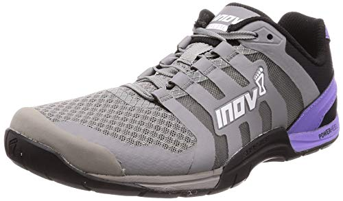 Inov-8 Womens F-Lite 235 V2 - Lightweight Minimalist Cross Training Shoes - Zero Drop - Athletic Shoe for Gym, Training and Weight Lifting - Wide Toe Box - Grey/Purple M6.5/ W8 (Best Trainers For Weight Lifting)