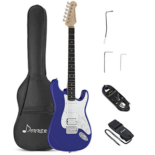 Donner DST-100L Full-Size 39 Inch Electric Guitar Sapphire Blue with Bag, Strap and Cable