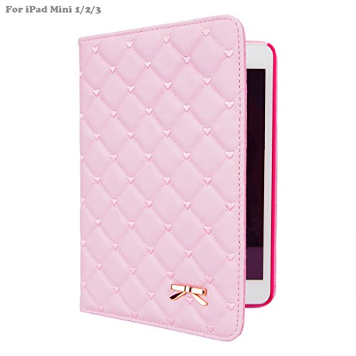 iPad Mini Case, iPad Mini 2 Case, iPad Mini 3 Case, IDEGG Cute Love embroidery PU Leather Flip Smart Stand Case Cover with Auto Wake/Sleep for Apple iPad Mini 1/2/3 (Pink) (Pink Ipad Mini Case compare prices)
