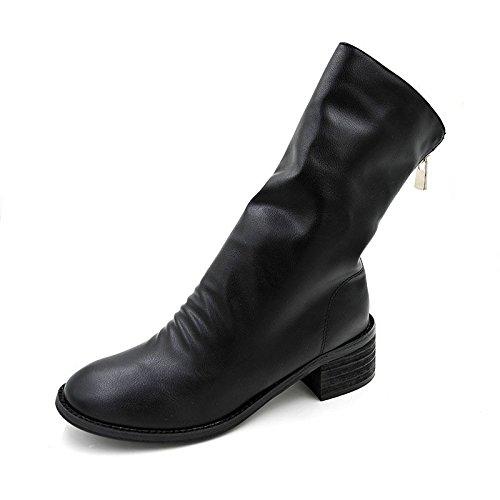 colore Martin Testa 34 anteriore street Stivali il stivali di cerniera nero posteriore solido un Stivali rotonda velluto cerniera con spessore e a Martin tCwaqw