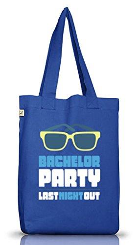 ShirtStreet Junggesellenabschieds JGA Hochzeit Jutebeutel Stoffbeutel Sunglasses - Bachelor Party Bright Blue