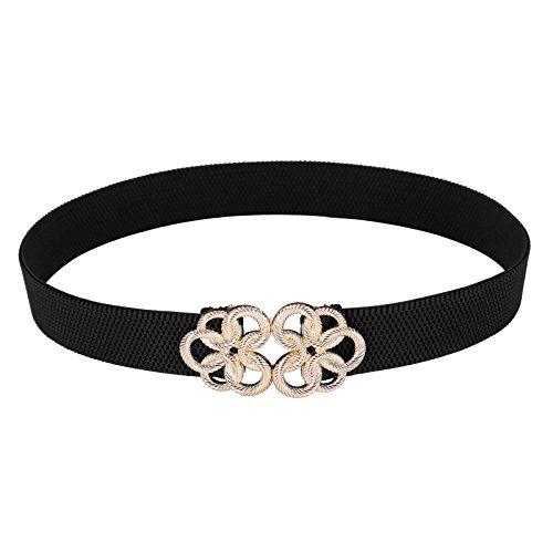 Retro Wide Metal Interlock Buckle Womens Elastic Waist Belt Cinch M T010410-1