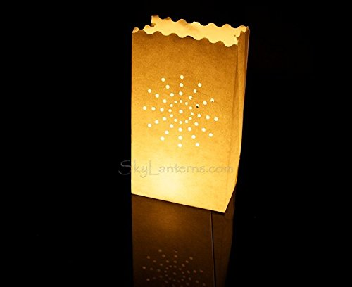 motif soleil 50 x sac de bougie lumi/ère de th/é en papier ignifuge d/écoration