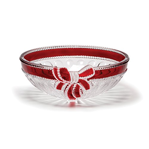 Celebrations by Mikasa Ruby Ribbon Crystal Serving Bowl, 9.75-Inch