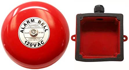 Fire Alarm Bell 6 , 120 Volts AC, with Weatherproof Backing Enclosure, Security Bell 120 Volts AC