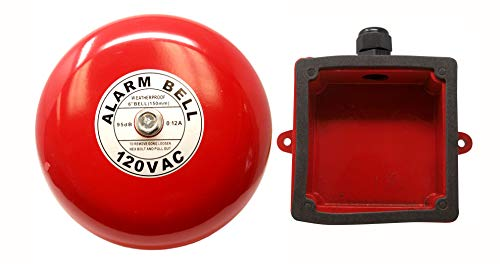 "Fire Alarm Bell 6"", 120 Volts AC, with Weatherproof Backing Enclosure, Security Bell 120 Volts AC"