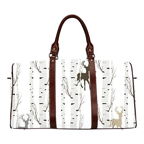 Travel Duffel Bag Fairytale Birch Grove Waterproof Weekender Bag Overnight Carryon Hand Bag Women Ladies Tote Bag With Microfiber Leather Luggage - Antler Faux Birch