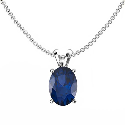 (Fingalo Sterling Silver 8x6 mm Oval Cut Blue Sapphire Ladies Solitaire Pendant (Silver Chain Included) (Comes with an 18