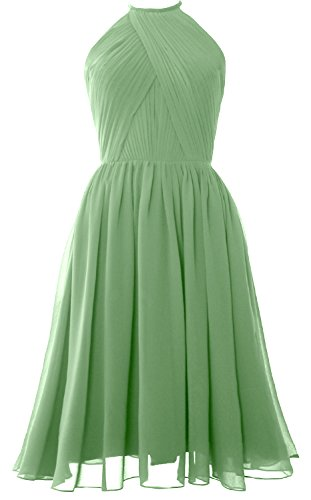 Open MACloth Halter Dress Chiffon Women Gown Short Bridesmaid Cocktail clover Back with zzTUw