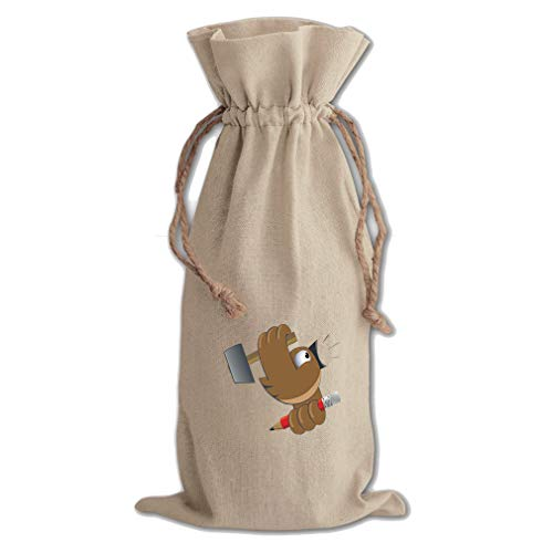 Bird With Hummer And Pencil Animals Cotton Canvas Wine Bag, Cotton Drawstring