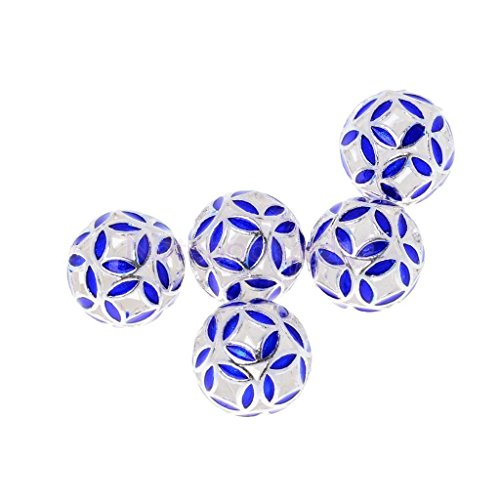5pcs Silver Plated Blue Round Cloisonne Flower Pendant Beads Jewelry Findings 12mm