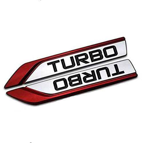 (2 PCS Car Turbo Metal Decorative 3D Badge, Sedan, SUV,Pickup Body Fender Side Mark Sign, Car Trunk Metal Turbo Emblem, Car Turbo Rear Logo, 3D Metal TURBO Car Decal Sticker Sign)