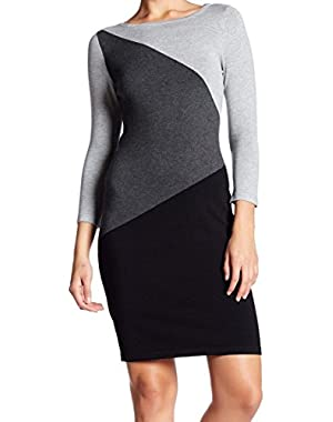 Calvin Klein Women's Colorblock Boat Neck Sweater Dress Gray XL
