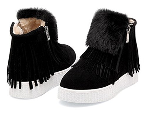Zipper Black Booties Ankle Aisun Round Casual Warm Fringed Side Platform Women's Flat Toe Sneaker Snow wqT6X