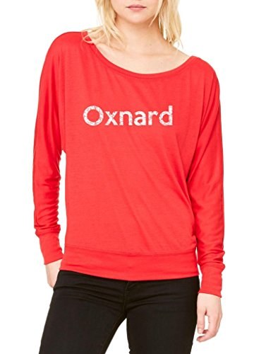 Ugo Oxnard CA California Map Flag Home of University of Los Women's Flowy Long Sleeve Off - Outlet Oxnard