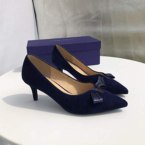 Zapatos Arco Bajo Mano Zapatos Yukun Mujer Hecho De A tacón alto Alto A Blue De Ayudar Alto Tacón Tacón zapatos De para Individuales PU De de wqZqISxvrz