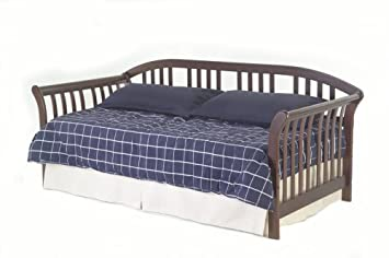 salem wood daybed frame with curved back panel and sleigh arms mahogany finish twin