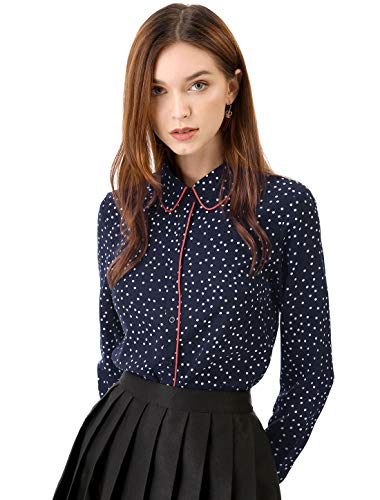 Allegra K Women's Polka Dots Long Sleeve Piped Button Down Office Shirt Blue M (US 10)