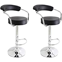 Black Leatherette Cushioned Adjustable Barstool Chair, Curved Back, Chrome Arms Pedestal Base (Set of two)