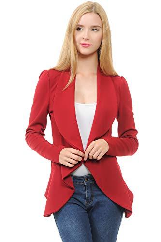 SSOULM Women's Long Sleeve Classic Draped Open Front Lightweight Blazer Ruby - Red Blazer Ruby