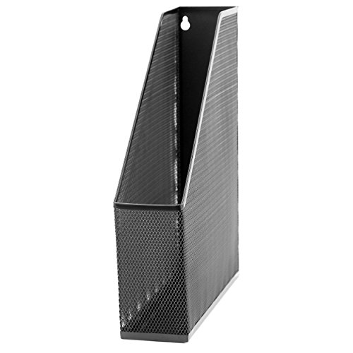 "U Brands Mesh Steel Magazine File Holder, 12.5"" x 9.8"" x 3"", Black"