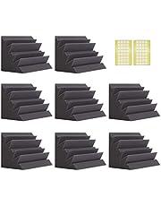 Paquete de 8 trampas de graves acústicas de espuma de 20,3 x 20,3 x 30,4 cm, trampas de graves negras para esquinas, trampas de graves de alta densidad y resistentes al fuego, paneles acústicos con cinta adhesiva de doble cara