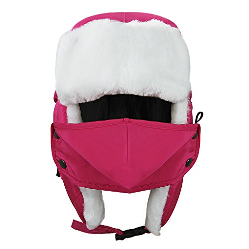 Cartoon Winter Hats Ski Cap for Girls Boys Windproof Thermal Fleece Trapper Hat with Earflap Face Mask (#Hot Pink)