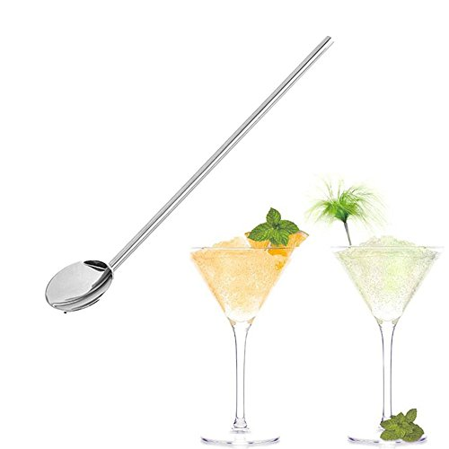 (iuchoice ❤️❤️ Mngarista 24 oz Cocktail Shaker - Stainless Steel Straw Cocktail Mate Stainless Steel Bartender Spoon Straw Spoon Shaped Drinking Straw)