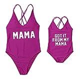 Family Matching Double Straps Monokini Mommy&Me One Piece Letter Print V-Neck Sleeveless Cross Back Bikini (Purple Girl, Girl/3-4T)