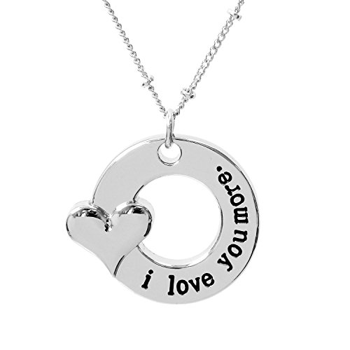 ALoveSoul I Love You More Round Heart Pendant Necklace Gifts for Women