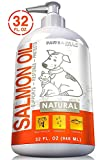 Fish Oil for Dogs & Cats - 100% Pure Wild Alaskan Salmon Liquid Food Omega 3 Supplement - Best for Pet Skin Coat Shedding w/ EPA + DHA Supporting Health Care Joint Function, Immune & Heart - 32oz Pump